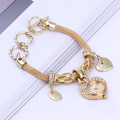 RFV Mode-Herz-Armband-Uhr-Netz-goldene Silberne Liebes-Uhr,Gelb,A