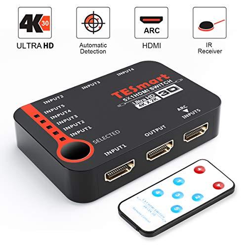 Switch hdmi 5x1 tesmart 5 in 1 out, switcher hdmi 5 porte intelligente, splitter, per xbox 360 / one, ps4 / ps3, ecc. supporta 4k@30hz, full hd1080p, 3d con telecomando ir (nero)