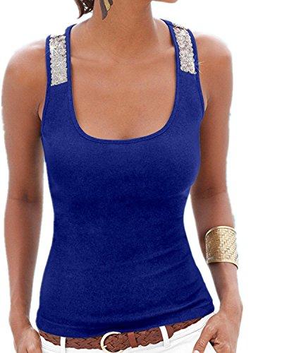 YOGLY Damen Damen Pailletten Shirt Träger Top Weste Top Oberteil Ärmellos T-Shirt Tanktop Blouse- Gr. EU44/Asien 3XL, Blau