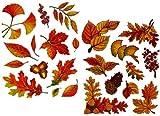 Unbekannt 23 Stück: Fensterbilder Herbst - Blätter Pilze Kastanien und Herbstfrüchte - Sticker _ statisch haftend wiederverwendbar _ Fenstersticker Aufkleber selbstkleb..