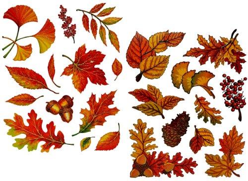 Unbekannt 23 Stück: Fensterbilder Herbst - Blätter Pilze Kastanien und Herbstfrüchte - Sticker _ statisch haftend wiederverwendbar _ Fenstersticker Aufkleber selbstkleb.. -