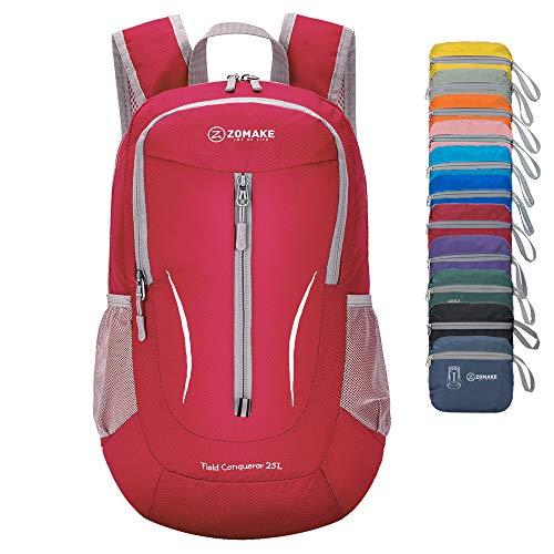 ZOMAKE Ultra Lightweight Packable Rucksack, 25L Klein Wasserfest Wandern Daypack Faltbarer Reiserucksack für Männer Frauen im Freien (Rot)