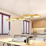 Modern LED Esstisch Pendelleuchte dimmbar Pendellampe Holz Hängeleuchte Ringe Design Hängelampe Bürolampe Höheverstellbar für Esszimmer Wohnzimmer Büro mit Fernbedienung,5lights
