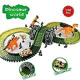 Aomeiqi Auto Rennstrecke Sets Dinosaurier Spielzeug Jurassic Wort mit 160 Stück Flexible Dinosaurier Park Tracks für 2 3 4 Jahre Mädchen und Jungen beste Geschenk