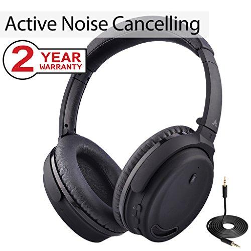 Avantree Bluetooth 4.1 Active Noise Cancelling Kopfhörer mit Mikrofon, Wireless / Wired Superleicht Komfortabel Klappbar Stereo ANC Over-Ear Headset für Handys PC TV, Umgebungsgeräusche-Reduktion - ANC032 (Kopfhörer Stereo Noise Cancelling)
