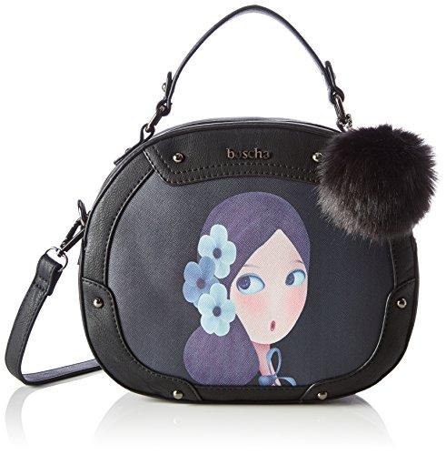 Boscha Damen Zip Bag Henkeltasche, 9 x 21 x 25 cm Schwarz (Black)