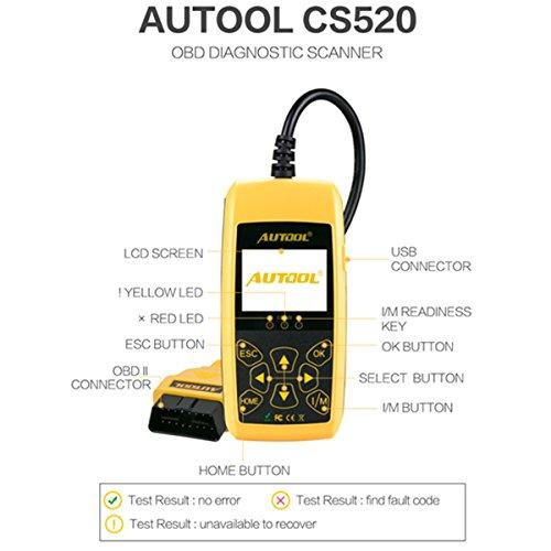 Lector de código de avería de motor Autool CS520 Lector de código automático de Auto ol del lector de código de avería del motor de vehículo  apaga la luz del motor (MIL) y la herramienta de análisis de diagnóstico de las luces de advertencia de DTC/TIPS