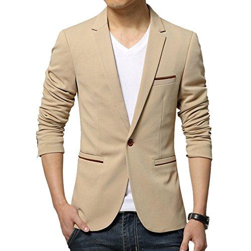 MRSMR Hommes Casual Veston Costume Solide Couleur Un Bouton Coton Blazer Manteau Vestes Kaki