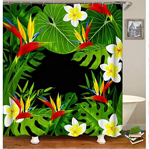 hysxm 3D Print Duschvorhänge Wasserdichte Blumen Pflanzenvorhänge Für Bad Stoff Vorhänge Angepasst Baddekor-180(H)*200(W) cm