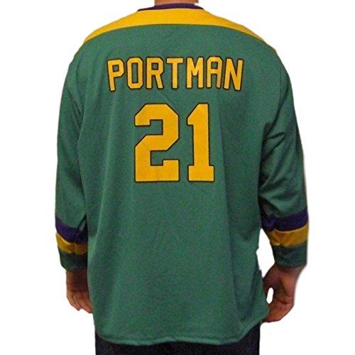 (MyPartyShirt Dean Portman # 21Mighty Ducks Film Hockey Jersey Bash Brothers Kostüm Gr. S, Grün - Grün)