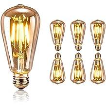 Retro Edison Bombilla, Tronisky E27 Edison Vintage Bombilla de Filamento 4W Antiguo LED Bombilla de Decorativa Cristal Lámpara 220V for Casa, Restaurante, Bar, Cafetería, Tienda - 6 Piezas
