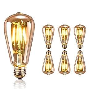 Lampadina Vintage Edison, tronisky Retro Edison Lampadina Vintage Retro Stile Lampadine a incandescenza Filamento Decorativo luce filamento della lampadina a vite E27