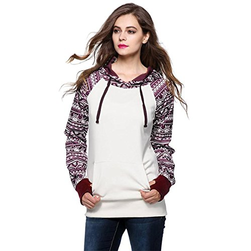 Pullover Damen Btruely Langarm Outerwear Brief Drucken Beiläufig Mantel (L, Weiß) (Schürze Print Floral)