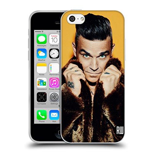 Offizielle Robbie Williams Lederjacke Kalendar Soft Gel Hülle für Apple iPhone 5 / 5s / SE Pelzmantel