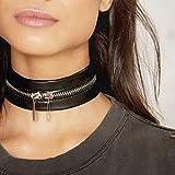 Reixus™ schwarze Lederhalskette, modisches Choker-Halsband mit Metall-Reißverschluss, Gothic-Schmuck für Damen