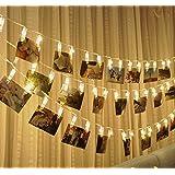 Rocita 20 LED Cadena Luces Decorativos Fotos Notas Foto Clip 2.2M Colgantes Decorativos Navidad Cumpleaños Fiesta