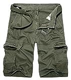Panegy Vintage Cargo Shorts Herren Outdoor Bermuda Kurze Hose Baumwolle Basic Short Multi-Tasche Arbeitshose Casual Sommerhose