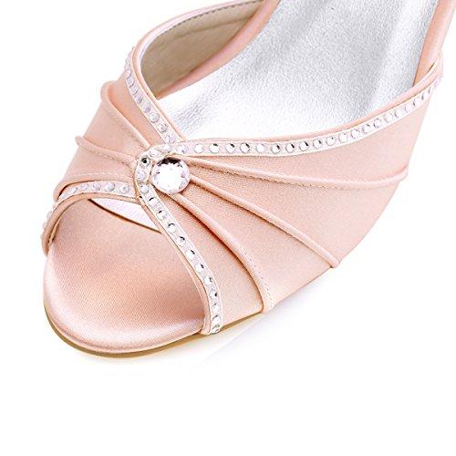 ElegantPark HP1623 Donna Peep Toe Tacco Basso Pieghe Strass Sandali Di Raso Pompa i Pattini Vestito Da Partito Da Sera Blush