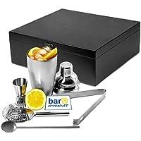 Bar@drinkstuff - Set regalo per cocktail Manhattan Nights con scatola in legno comprendente: shaker, strainer, misurino da un'oncia e mezza, cucchiaino da bar, pinza per ghiaccio
