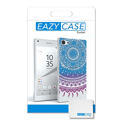"Sony Xperia Z5 Compact Hülle - EAZY CASE Slimcover ""Clear"" Handyhülle - Schutzhülle als Smartphone Case in Grün Henna Blau / Pink"