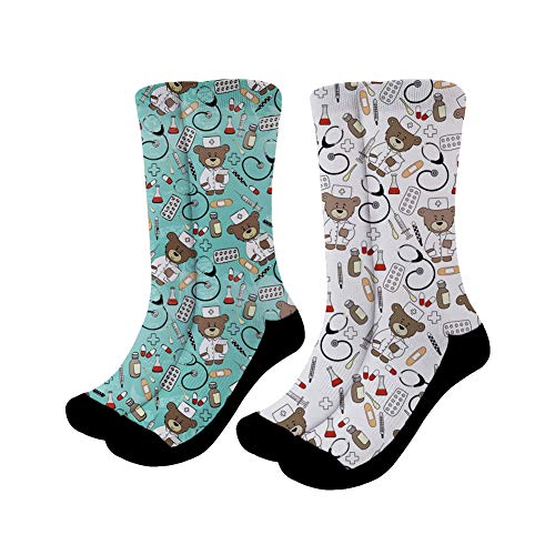 Showudesigns Herren Damen Crazy Novelty Lange Tube Socken Crew Socken Karikatur Krankenschwester Bär-2 Packungen - Adult Tube