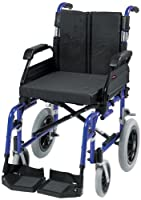 """Drive DeVilbiss Healthcare Enigma XS Aluminium Transit Wheelchair with 18"""" Seat Width in Blue"""