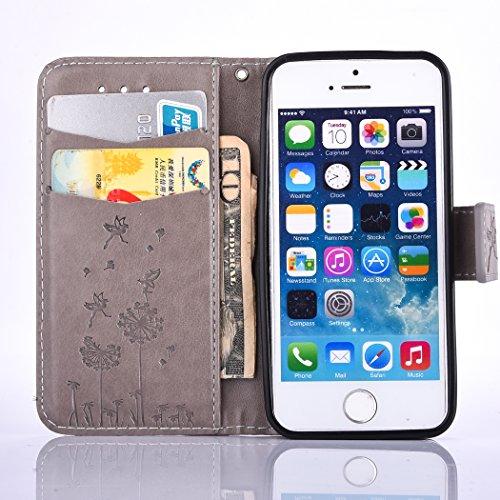 Case pour la Apple iPhone 5 / 5s / SE Coque,pissenlit Étui en PU Cuir Phone Case Cover Couverture Fonction Support avec Fermeture Aimantée de Feuille Motif Imprimé+Bouchons de poussière (3HR) 3