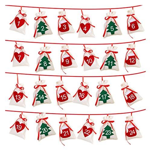 TwoCC-Weihnachtsdekoration, hohl hängende Weihnachtsgeschenktüte, Kalendertüte, Countdown, 24 Taschen (24 Taschen)