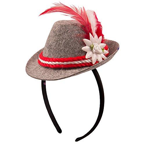 Mini-Hut/Tiara * OKTOBERFEST * mit rot-weißer Kordel und Federschmuck // F-20970 // Verkleidung Kostüm Mottoparty Geburtstag Mädchen Kinder Tiaras Diademe Bayern Hut