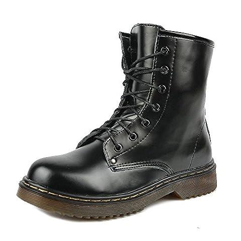 Kick Chaussures Bottes en cuir pour femme Style rétro - Noir - Black Shine, 41 EU