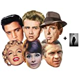 *Mask Pack* Hollywood Party Face Masks Classic Set of 6 (Audrey Hepburn, Marilyn Monroe, Elvis, Humphrey Bogart, James Dean and Steve McQueen) - Includes 6X4 (15X10Cm) Star Photo - Mask Pack #13
