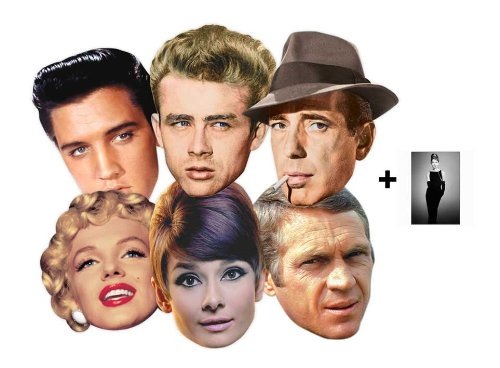 Hollywood Kostüme Filme (Hollywood Party Karte Partei Gesichtsmasken (Maske) Classic Packung von 6 (Audrey Hepburn, Marilyn Monroe, Elvis, Humphrey Bogart, James Dean und Steve)