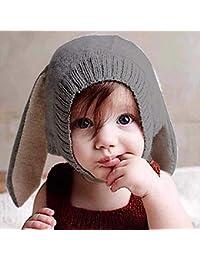 Ins Sombrero para niños Innovador Sombrero de lana en forma de animal Orejas de conejo Sombrero