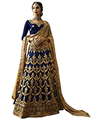 DesiButiks Wedding Wear Elegant Navy Blue Net Lehenga