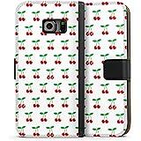 Samsung Galaxy S6 Edge Flip Tasche Schutz Hülle Walletcase Bookstyle Kirschen Rockabilly Früchte