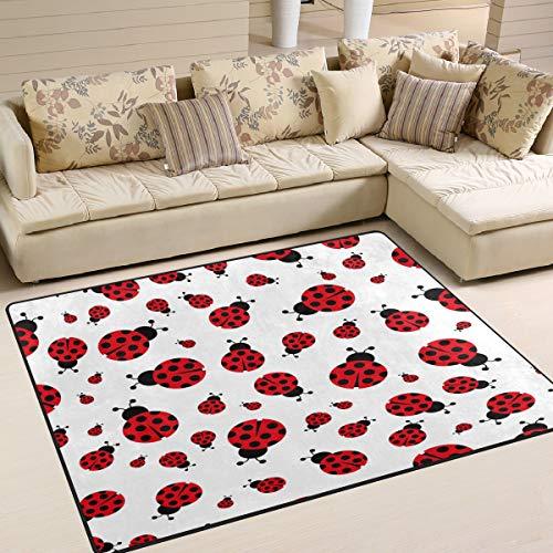 Marienkäfer Teppich (Use7 Cartoon Hipster Marienkäfer Tierteppich Teppich für Wohnzimmer Schlafzimmer, Textil, Mehrfarbig, 203cm x 147.3cm(7 x 5 feet))