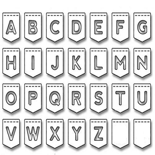 WOZOW Scrapbooking Stanzschablone Süß Prägeschablonen Schablonen Stanzen Stanzformen Zubehör für Sizzix Big Shot und andere Prägemaschine (B Buchstabe des Alphabets) -