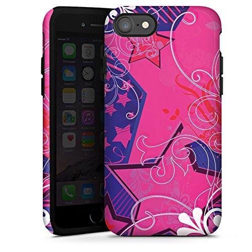 Apple iPhone X Silikon Hülle Case Schutzhülle Muster Sterne Blumen Tough Case glänzend