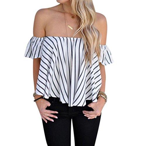 Frauen Sommer Bluse T-shirt , LILICAT Mode Damen Weg Schulter Kurzarm Bluse Gestreifte Tops Bluse Reizvolle Shirt (Weiß, L) (Unten Strand-taste Nach Shirt)