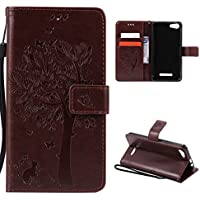 CaseFirst Wiko Lenny 2 Wallet Leather Case with Protective Durable PU Leather Shell Folio flip Cell Phone Cover Bag with Card Slots,Cash Pocket,Coffee