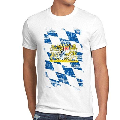 Bayern Vintage Flagge Herren T-Shirt München Oktoberfest Fussball FC, Größe:L;Farbe:Weiß
