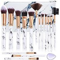 Brochas de maquillaje DUAIU 15Pcs Set de Brochas Maquillaje Profesional Premium Sintético Pinceles Sombra de ojos Corrector Crema para cejas En polvo Mezcla con bolsa de cosméticos de mármol