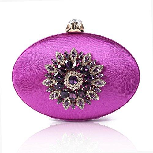 Damara Damen Oval Strasssteine Kette Abendtasche Clutch,Grau Violett
