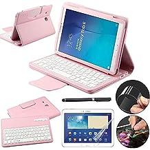 REAL-EAGLE Samsung Galaxy Tab E 9.6 Funda Caso de Teclado + Lápiz capacitivo + Protector de Pantalla Desmontable Inalámbrico Bluetooth Teclado Funda de Piel Folio Cover Para Samsung Galaxy Tab E 9.6 SM-T560 / T561 / T565 / T567 (Pink)