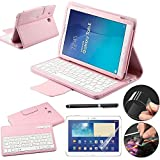 Galaxy Tab E 9.6 Keyboard Case with Screen Protector & Stylus, REAL-EAGLE Separable Fit PU Leather Case Cover Magnetically Bluetooth Keyboard For Samsung Tab E 9.6 Inch SM-T560, T561, T567(Samsung Galaxy Tab E 9.6, Pink)