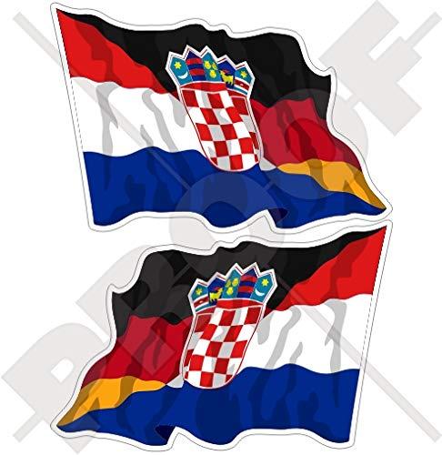 KROATIEN-DEUTSCHLAND Kroatisch-Deutsch Wehende Flagge 75mm Auto & Motorrad Aufkleber, x2 Vinyl Stickers (Links - Rechts)