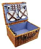 Cesta de mimbre de picnic con vajilla para 4personas y mantel de cuadros azules, de Fonsa