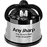 AnySharp Knife Sharpener with PowerGrip, Silver