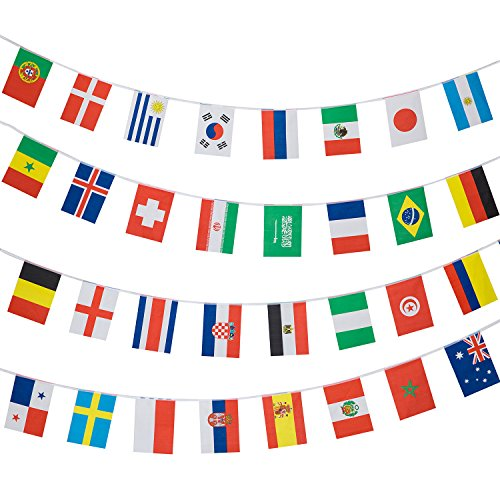 2018 FIFA World Cup Russia Bunting Soccer Flag Football String Flags - 12M long  Indoor and Outdoor use  Printed to both sides  32 flags of competing countries  20x28cm