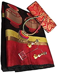 Sarees For Wedding / Party / Festival / Traditional Beautiful Cotton Designer Wear Tusser Black And Red Saree...